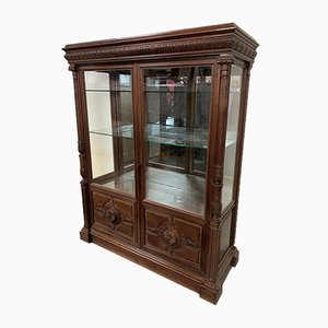 French Henry II Walnut Display Cabinet