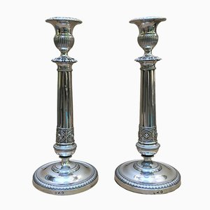 Neoclassical Silver Candlesticks, Set of 2