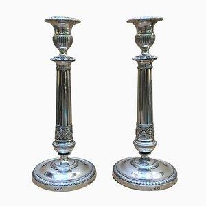 Silberne Neoklassizistische Kerzenständer, 2er Set