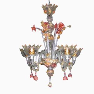 Venetian Ruby and Gold Crystal & Iron Chandelier, 1950s
