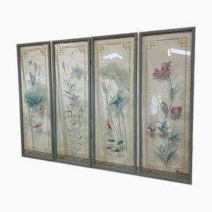 Japanese Acid Etched Glass Panels, Set of 4