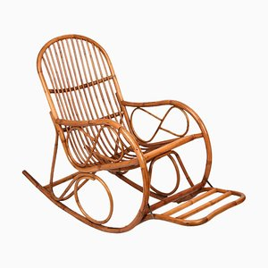 Italian Bamboo Rocking Chair, 1970s