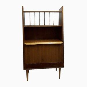 Mueble bar estilo abedul escandinavo vintage pequeño de teca con puerta plegable, años 60