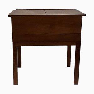 Mesa de costura estilo escandinavo vintage de teca con dos cajones y tablero de dos piezas, años 60