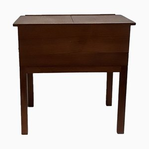 Vintage Scandinavian Style Teak Sewing Table with 2 Drawers & 2-Piece Top, 1960s