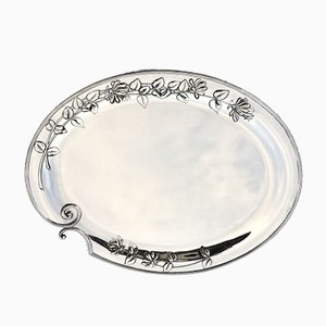 German Art Nouveau Silver Serving Platter with Floral Decoration from Wilkens & Söhne, 1899