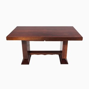 Large Art Deco Mahogany Extendable Dining Table, 1920s