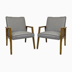 Restaurierte Skandinavische Stühle aus Grauem PVC, 2er Set