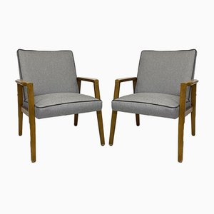 Restored Scandinavian Gray PVC Armchairs, Set of 2