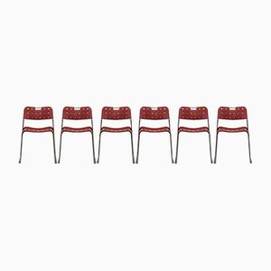 Red Omstack Chairs by Rodney Kinsman for Bieffeplast, 1972, Set of 6