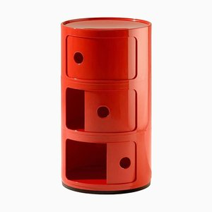 3-Tier Drawer in Red by Anna Castelli Ferrieri for Kartell Componibili