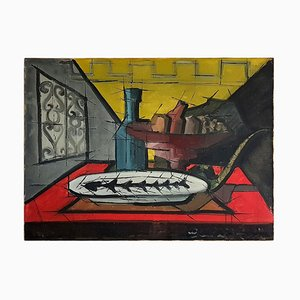 Still Life Dining Table Scene in the Manner of Bernard Buffet, Oil on Canvas
