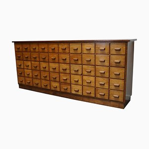 Large German Industrial Oak Apothecary Cabinet, Mid-20th Century
