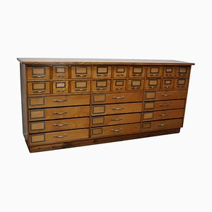 German Industrial Beech and Oak Apothecary Cabinet, Mid-20th Century