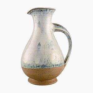 Gutte Eriksen Style Jug in Glazed Ceramics with Turned Handle