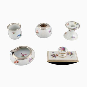 Five Parts Meissen Porcelain with Hand-Painted Floral Motifs, 20th Century, Set of 5