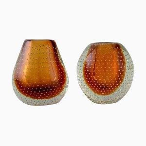 Finnische Vasen aus mundgeblasenem Klarglas und Bernsteinfarbenem Kunstglas, 2er Set