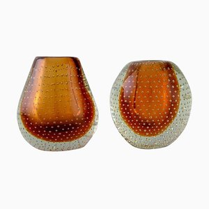 Finnish Vases in Clear and Amber Colored Mouth-Blown Art Glass, Set of 2
