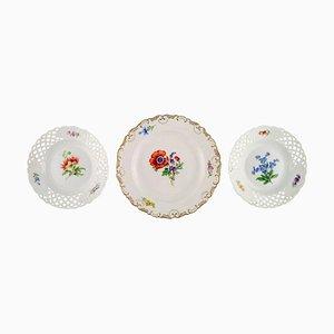 Meissen Teller aus handbemaltem Porzellan mit floralen Motiven, 3er Set
