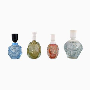 Skandinavische Tischlampen aus Mundgeblasenem Glas, Mitte des 20. Jahrhunderts, 4er Set
