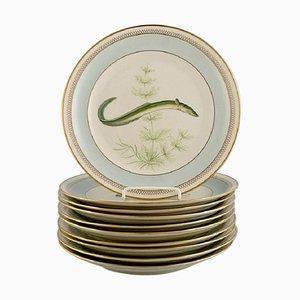 Royal Copenhagen Porcelain Fish Plates with Hand-Painted Fish Motifs, 1960s, Set of 10
