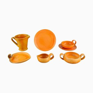 Tea Set in Glazed Stoneware from Kähler, Denmark, Set of 7