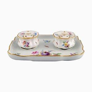 Meissen Tintenfass Set aus handbemaltem Porzellan mit floralen Motiven. 19. Jahrhundert, 3er Set