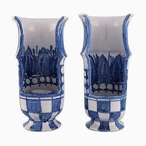 Kerzenhalter in Handbemalter Keramik von Bjørn Wiinblad, Dänemark, 2er Set