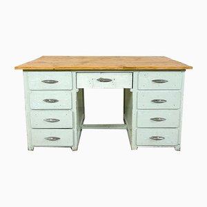 Industrieller Vintage Schreibtisch aus Holz in Hellblau