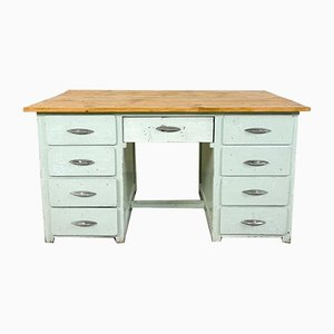 Vintage Industrial Painted Wooden Desk in Light Blue