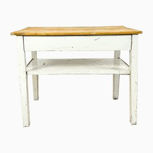 Small French Brocante White Painted Side Table