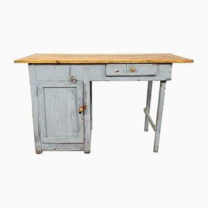 Escritorio industrial vintage pequeño de madera pintada gris
