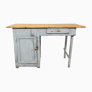 Kleiner Industrieller Vintage Schreibtisch aus Grau Lackiertem Holz