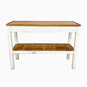 French Brocante White Painted Side Table