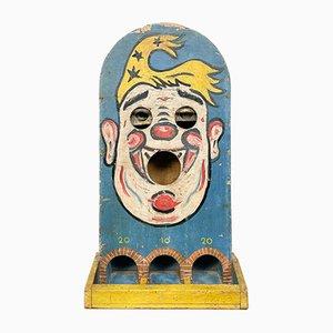 Antiker französischer Passe Boule Toss Rummelplatz Spiel Clown mit beweglichen Augen