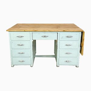 Vintage Industrial Painted Wooden Desk with Extendable Top