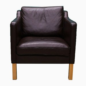 Danish Brown Leather Mogensen Style Lounge Chair, 1970s