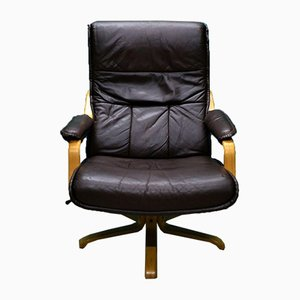 Mid-Century Danish Brown Leather Swivel Lounge Armchair