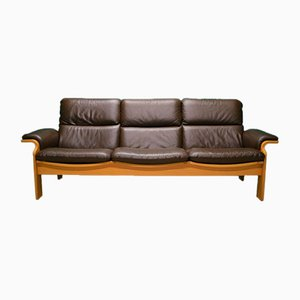 Norwegian Brown Leather Three Seat Sofa, 1970s