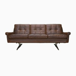 Danish Tan Brown Leather 3 Seat Sofa from Skippers Mobler, 1960s