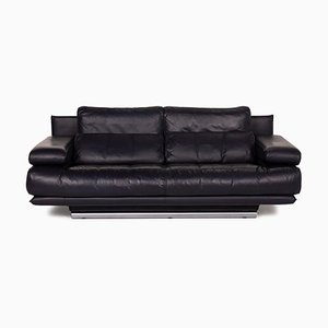 6500 Three-Seater Black Sofa by Rolf Benz