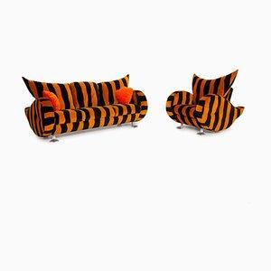 Knastelte Wohnzimmer Set mit schwarzem Tigermuster von Bretz, 2er Set