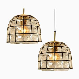 Circle Iron and Bubble Glass Chandelier from Limburg