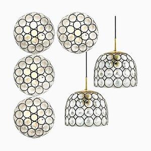 Circle Wandlampen aus Eisen & Sideglas von Glashütte, 1960er, 6er Set