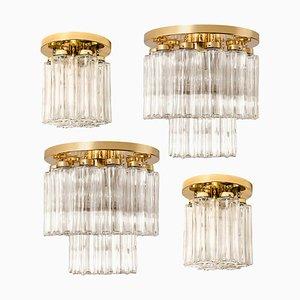 Brass and Glass Lights Fixtures from Limburg Glashütte, 1970s, Set of 4