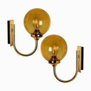 Blown Amber Glass and Brass Wall Lights from Limburg Glashütte, 1960s, Set of 2
