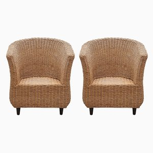 Cord Woven Bucket Lounge Chairs, 1980er, Italien, Set of 2