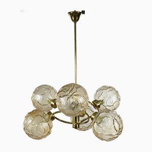 Lámpara de araña Sputnik con bola de vidrio orbital, años 70