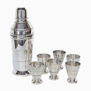 Cocktail Shaker and Six Beakers, Set of 7