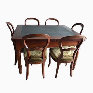 Antique Mahogany Biedermeier Extending Table with 6 Chairs, Set of 7